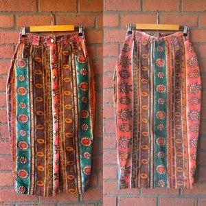 Vtg Live in Color High Waist Button Midi Skirt | M